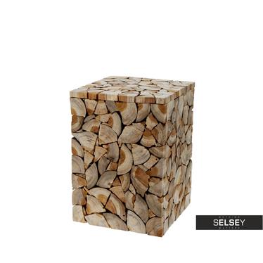 Stołek Woodpecker 40 cm obłożony plastrami drewna