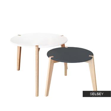 Zestaw stolików kawowych Glada czarno-białe średnica 60 cm i 45 cm