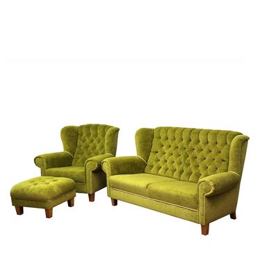 Komplet wypoczynkowy Redon sofa i fotel z podnóżkiem