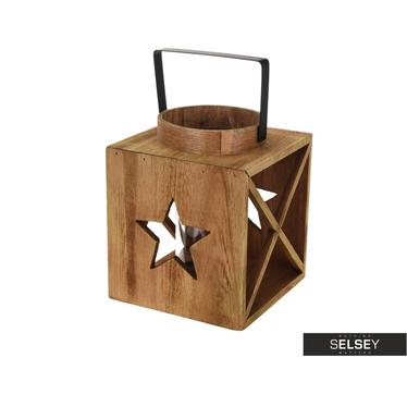 Drewniana latarenka z gwiazdką 20 cm i 26 cm