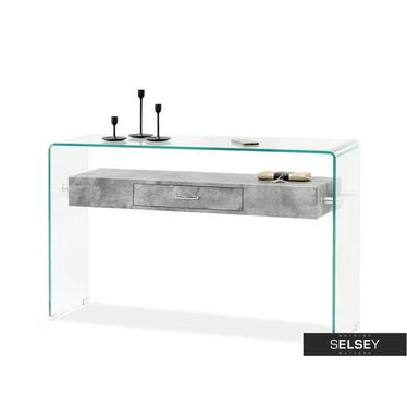 Biurko Opal beton ze szkła z szufladą
