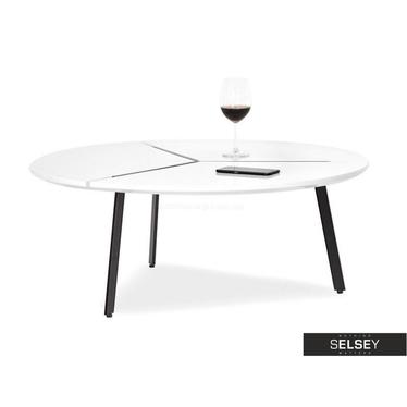 Stolik kawowy Fjord średnica 86 cm biały połysk w stylu glamour