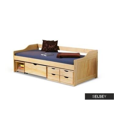 Łóżko Tamagotchi sosna ze schowkami na kółkach