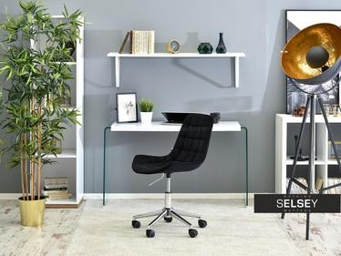 Fotel biurowy Elior czarny - chrom pikowany welurowy