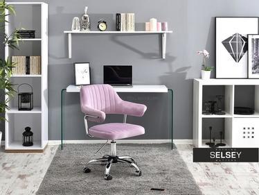 Fotel biurowy Merlin liliowy velvet z regulacją wysokości