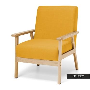 Fotel Travis żółty na drewnianej ramie