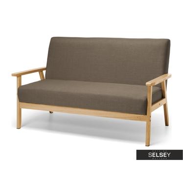 Sofa Travis popielata na drewnianej ramie