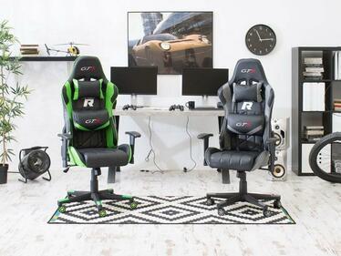 Fotel gamingowy Racer GTS czarno - szary pikowany