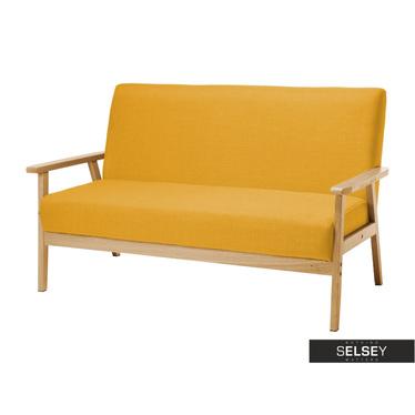 Sofa Travis żółta z drewnianymi podłokietnikami