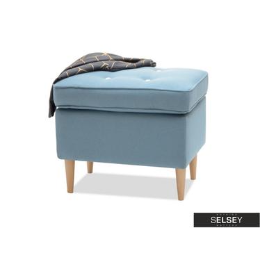 Podnóżek Malmo niebieski z bukowymi nogami i pikowanym siedziskiem