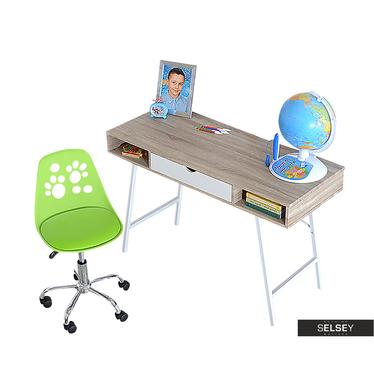 Biurko Loren z zielonym fotelem biurowym Foot