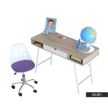Biurko Loren z biało - fioletowym fotelem biurowym Foot