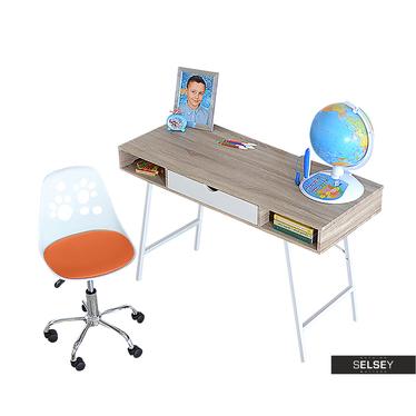 Biurko Loren z biało - pomarańczowym fotelem biurowym Foot