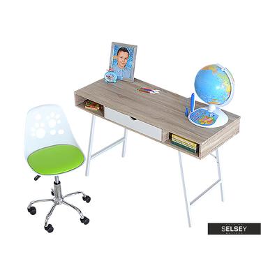 Biurko Loren z biało - zielonym fotelem biurowym Foot