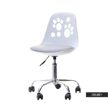 Fotel biurowy Foot biało - szary dziecięcy z regulacją wysokości