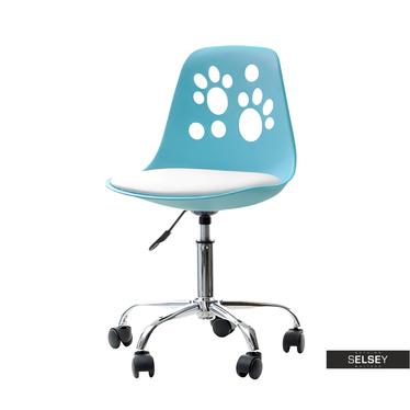 Fotel biurowy Foot niebiesko - biały dziecięcy na kółkach