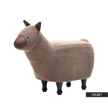 Siedzisko Lama brązowa na drewnianych nóżkach