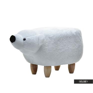 Siedzisko Miś biały na drewnianych nóżkach