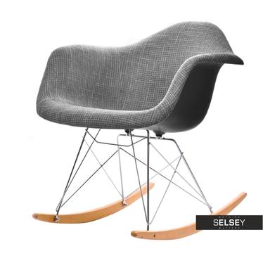 Fotel bujany MPA ROC tap glamour szary na drewnianych płozach
