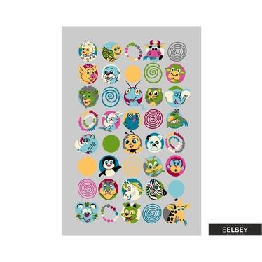 Dywan Youth Kolorowe zwierzaki szary