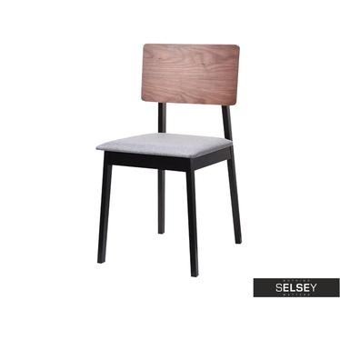 Krzesło Vibo orzech-czarny z tapicerowanym siedziskiem