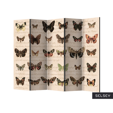 Parawan 5-częściowy - Styl retro: Motyle