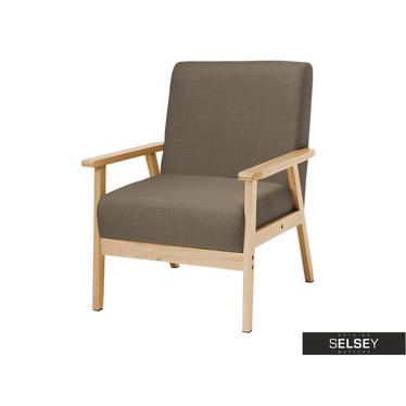 Fotel Travis popielaty na drewnianej konstrukcji