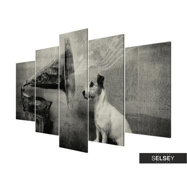Obraz - Piesek wsłuchujący się w muzykę z gramofonu 200x100 cm