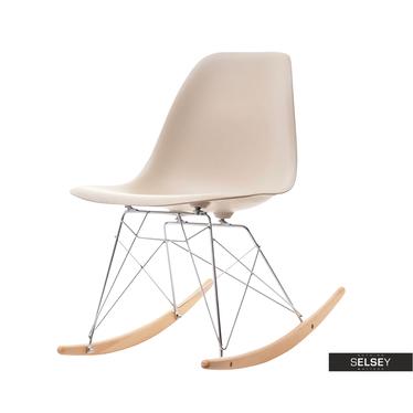 Krzesło bujane MPC roc beżowe na drewnianych płozach