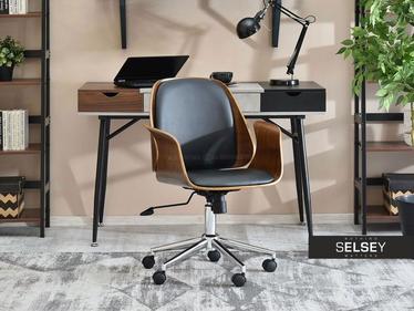 Fotel biurowy Enric orzech - czarny z drewna giętego industrialny