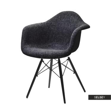 Krzesło MPA wood tap czarne tapicerowane do jadalni