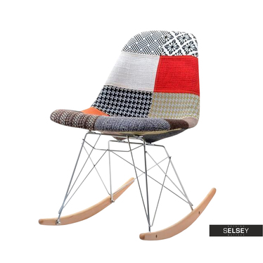 Krzesło bujane Adirale patchwork tapicerowane na biegunach