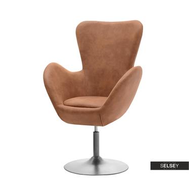 Fotel obrotowy Jacob jasny brąz - czarny uszak w stylu vintage