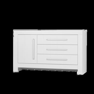 Komoda szeroka Calmo z trzema szufladami biała