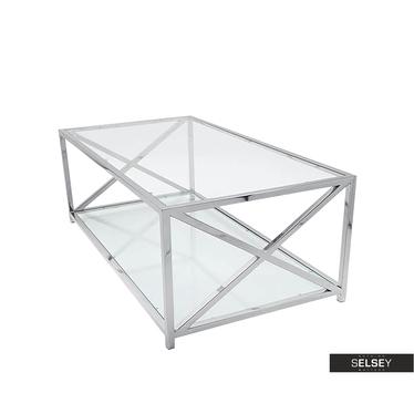 Ława Ozgar 120x70 cm z dwoma blatami ze szkła, podstawa x