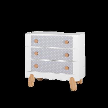 Komoda I'ga z trzema szufladami biała z grochami