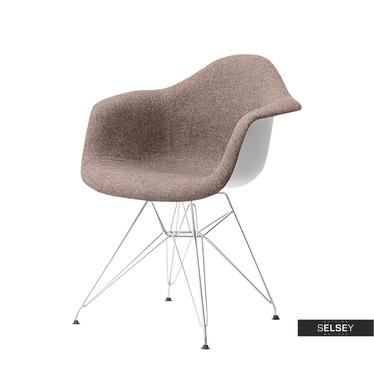 Krzesło MPA rod tap brązowe w stylu boho z podłokietnikami