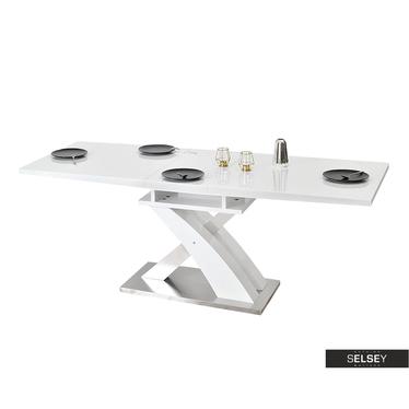 Stół rozkładany Bist 180(220)x90 cm biały połysk-stal