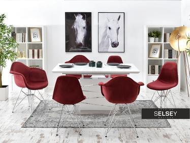 Krzesło MPA rod tap bordowy - chrom welurowe