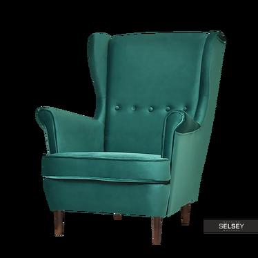 Fotel Malmo zieleń-orzech z tkaniny velvet