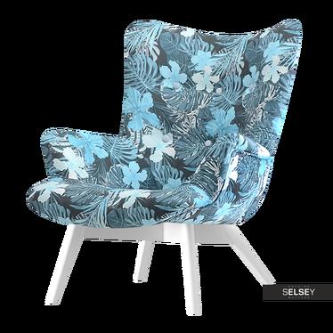 Fotel Flori kwiaty - biały uszak pikowany