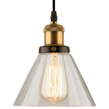 Lampa wisząca New York Loft 1 czerń mosiądz z transparentnym kloszem