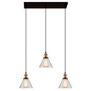 Lampa wisząca New York Loft 1 czerń mosiądz z dymionymi kloszami