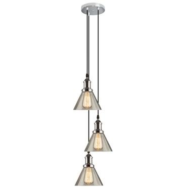 Lampa wisząca New York Loft 1  chrom z transparentnymi kloszami