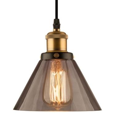 Lampa wisząca New York Loft 1 czerń mosiądz z dymionym kloszem