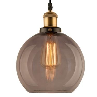 Lampa wisząca New York Loft 2 czerń mosiądz z dymionym kloszem