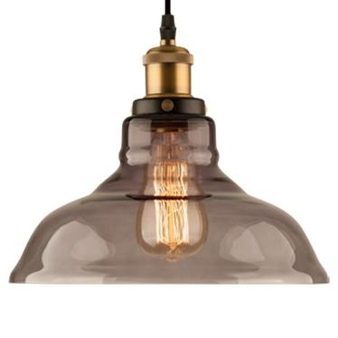 Lampa wisząca New York Loft 3 czerń mosiądz z dymionym kloszem