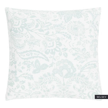 Poduszka z poszewką Paisley Flower biało zielona 45x45 cm