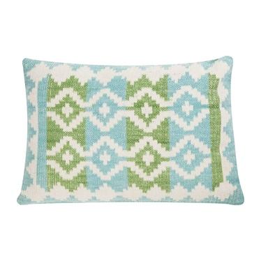 Poduszka z poszewką Summer Kelim niebiesko zielona 45x65 cm