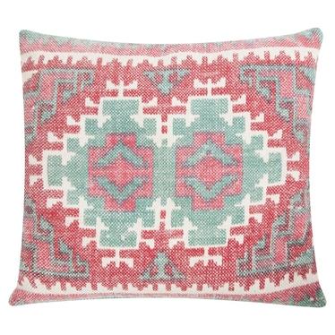 Poduszka z poszewką Summer Kelim różowo zielona 53x60 cm